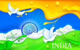 Dove flying with Indian Tricolor Flag Royalty Free Stock Photo