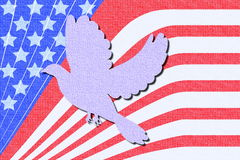 Dove freedom and peace icon on canvas texture Stock Photo