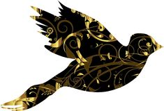 Dove with gold ornament Stock Photo