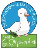 Dove Holding a Olive Branch and Sign for Peace Day, Vector Illustration Royalty Free Stock Images