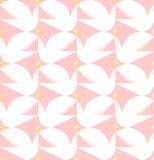 Dove holding star. Flat style vector seamless pattern with white Royalty Free Stock Image