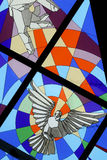 Dove - Holly Spirit. A bright and colorful stained glass window in The Church of the Blessed Aloysius Stepinac, Velika Gorica, Croatia Stock Images