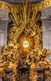 Dove of the Holy Spirit stained glass built by Gian Lorenzo Bernini in 1660 inside St. Petrs's basilica. Vatican, Rome, Italy - December 9, 2018: The dove of the stock photo