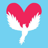 Dove Icon with Heart Shape. Logo peace love template vector Stock Photos
