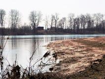 Dove il fiume piega fotografia stock