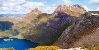 Dove lake and Cradle Moutain on bright sunny day. Stock Images