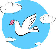 Dove with letter Royalty Free Stock Photography
