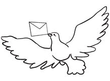 Dove with a letter. Flying dove with a letter. Vector illustration Royalty Free Stock Photography