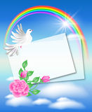 Dove with letter in the sky Stock Photos