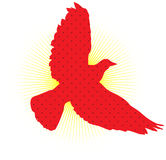 Dove Logo. Red dove and sun logo Stock Images