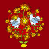 Dove in love. On a traditional life tree Stock Photo