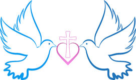Dove love cross. A vector drawing represents dove love cross design Stock Photo
