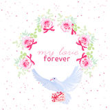 Dove with love letter and rose bouquets vector design frame. Rom Royalty Free Stock Photography