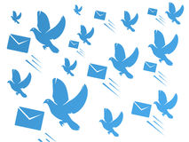 Dove and mail envelop. Flying dove and mail envelope pattern Stock Images