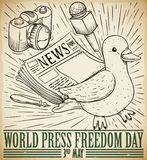 Dove and Mass Media Draws for Press Freedom Day Celebration, Vector Illustration. Retro design with hand draw dove, newspaper, microphone, fountain pen and vector illustration