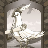 Dove messenger. Illustration with dove sitting on a castle window in herald clothes with roll love message  against village landscape drawn in vintage style Royalty Free Stock Images
