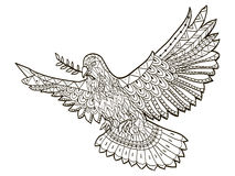 Dove Of The World Fly With A Branch In Its Beak On A White Background Vector