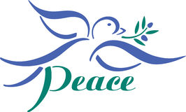 Dove with Olive Branch. Flying dove carrying an olive branch with Peace royalty free illustration