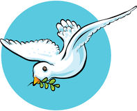 Dove with Olive Branch. A cartoon dove carrying an olive branch in peace Stock Image