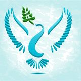Dove with olive branch. Stylized Stock Photography