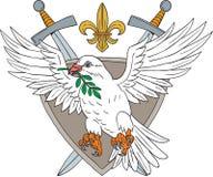 Dove Olive Leaf Sword Fleur De Lis Crest Drawing Royalty Free Stock Photo