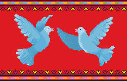 Dove Ornament D. National Ornament cross-stitch with couple doves Royalty Free Stock Photos