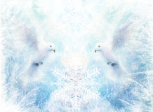 Dove in ornamental winter snowflakes, white radiant holy flying peace symbol, colorful painting and pc collage Royalty Free Stock Photo