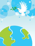 Dove over the World. White dove with an olive branch of peace over the world Royalty Free Stock Images