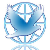 Dove Of Peace. And globe blue icon isolated over white background Stock Images