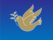 Dove of Peace 2. Line illustration of a dove holding an olive branch Stock Photos