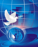 Dove of peace. Near crystal-clear globe Royalty Free Stock Image