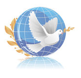 Dove of peace. Near globe Stock Images