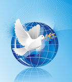 Dove of peace. Near blue globe Royalty Free Stock Photo