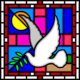 Dove of Peace. Illustration of a part of a Stained Glass window with the Dove of Peace. The four square panels around the cross symbolize the Sun and the Moon