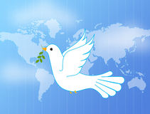Dove of peace. The dove of peace holding olive leaves and flying above the world Stock Image