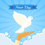 Dove Peace Day Hand Open Palm Over Clouds Blue Sky Royalty Free Stock Photography