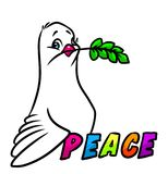 Dove of Peace emblem cartoon illustration Royalty Free Stock Photo