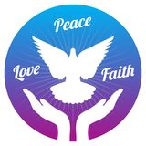 Dove peace flying from hands in sky. Love, freedom and religion faith vector concept. Peace and love, faith and hope illustration Royalty Free Stock Image