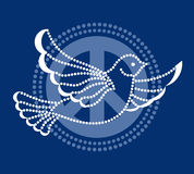 Dove of peace. Handcrafted dove  flying over peace sign Royalty Free Stock Photos