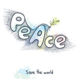 Dove of peace with olive branch in dotted style on the blots background. Traditional symbol of peace Stock Photo