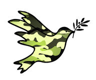 Dove of Peace, peaceful solutions of compromise symbol with military pattern. Isolated Royalty Free Stock Photography