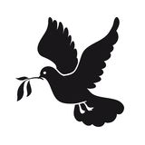 Dove of peace. Pigeon with olive branch. International Day of Peace. Black icon. Stock Photography