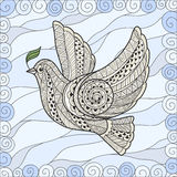 Dove of Peace in the style zentangl Stock Photography
