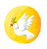 Dove of Peace and Sun. Acrylic illustration of Dove of Peace and Sun Royalty Free Stock Photo