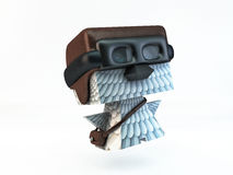 Dove pigeon post carrier pilot bird character. Dove pigeon post carrier pilot. helmet, goggles and bag full of letters over shoulder. illustration for service Royalty Free Stock Photos