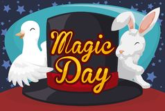 Dove, Rabbit and Magician Top Hat for Magic Day Celebration, Vector Illustration royalty free illustration