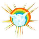 Dove with rainbow. The symbol of the dove has always been synonymous with brotherhood and peace, is the stylized image a dove behind a rainbow, because the use Stock Illustration
