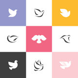 Dove. Set of elegant vector icons and logos Stock Photos