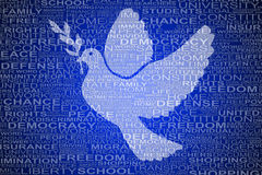 Dove shape for human rights with symbolic words Stock Photo