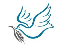 Dove and a sprig of wheat. Perfect for logo, vector Royalty Free Stock Photography